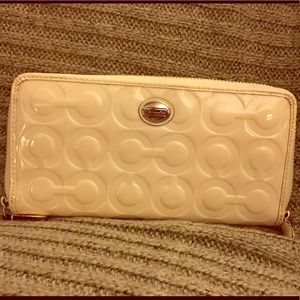 Coach white patent leather accordion zip wallet